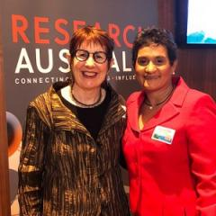 Professor Sue Kildea (left) and Dr Yvette Roe at the 2018 Research Australia Awards.