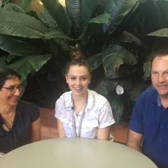 Pascale Wehr, centre, with Professor Ranjeny Thomas and Dr Hanno Nel.