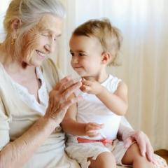 Grandmother caring for young child