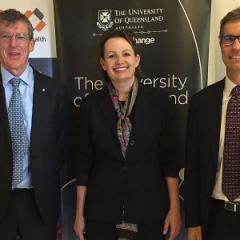 Professor Frazer, Minister Ley and Professor Hoj at the TRI today