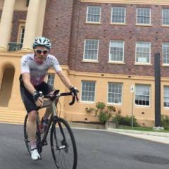 Professor Nicholas Fisk cycling