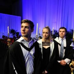 Students attending the 2012 UQ Thanksgiving Service. From left to right: Michael Lonne, India Fenelon and Seamus Delahunty